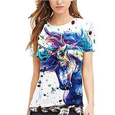 camiseta con dibujo de unicornio