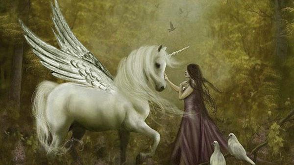 la doncella acaricia al unicornio