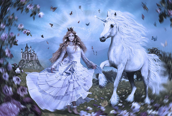 la doncella esta junto al unicornio y su castillo