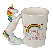 taza ceramica con imagen de unicornio