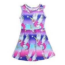 vestido floreado con unicornios