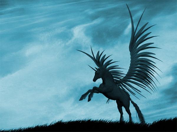 unicornio hermoso alado