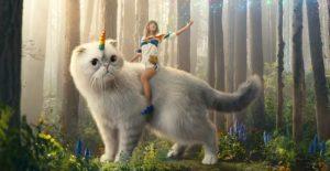 Taylor Swift montada en su gata unicornio