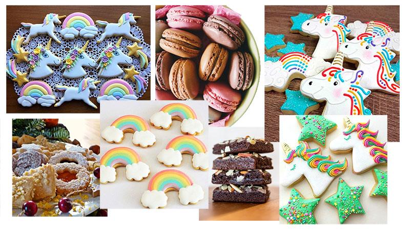 golosinas y galletas de unicornio