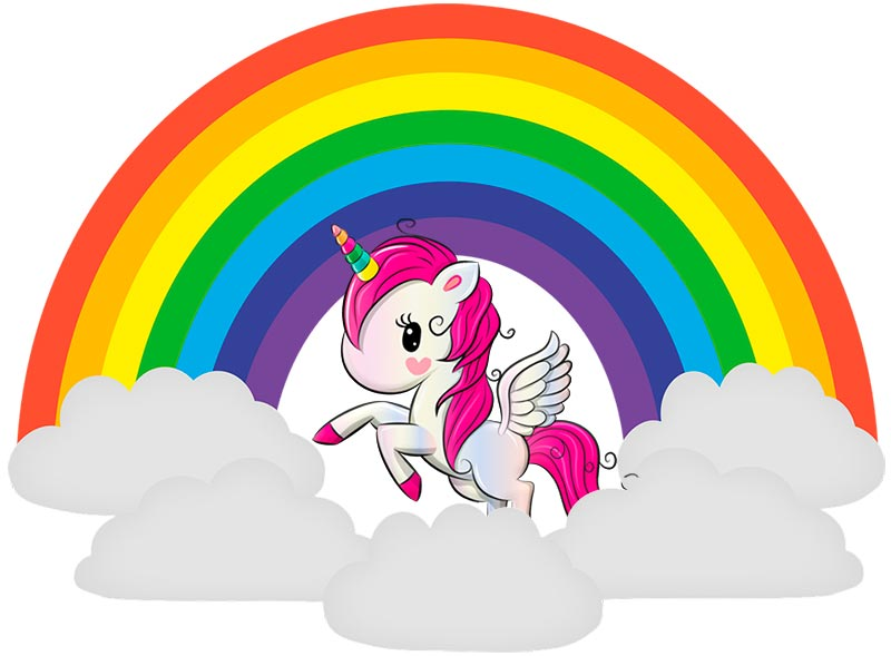 arcoiris de colores y el unicornio